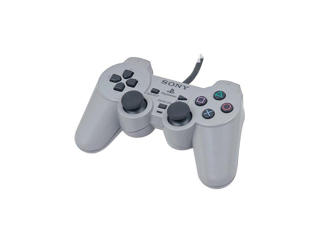 [PS1] Drátový Ovladač Sony Dualshock - šedý