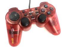 [PS2] Drátový Ovladač Blaze Duo Shock Plus - červený průhledný