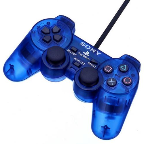 [PS2] Drátový Ovladač Sony Dualshock - modrý průhledný