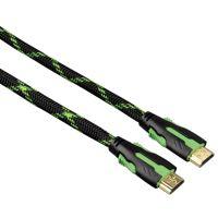 HDMI kabel Hama 2m pozlacený, odolný + ethernet (černozelený)