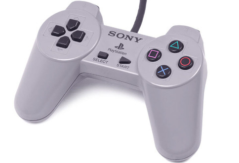 [PS1] Drátový Ovladač Sony Bez Páček - šedý
