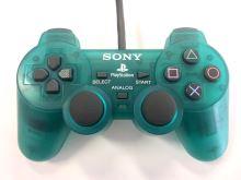 [PS1] Drátový Ovladač Sony Dualshock - smaragdový průhledný