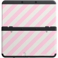 [Nintendo 3DS] Ochranný Kryt - Růžové a bílé pruhy (nový)