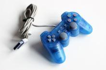 [PS1] Drátový Ovladač Sony Dualshock - modrý průhledný