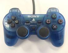 [PS1] Drátový Ovladač Sony Dualshock - průhledný modrý (estetická vada)